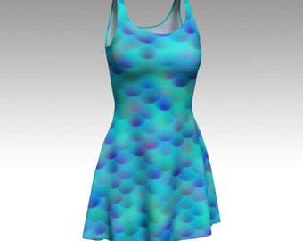 Mermaid Dress, Blue Dress, Cosplay Dress, Aqua Dress, Flare Dress, Skater Dress, Bodycon Dress, Fitted Dress, Mermaid Scales, Cute Dress