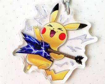 "Electric Guitar Rockstar Pikachu - 2"" Acrylic Keychain"