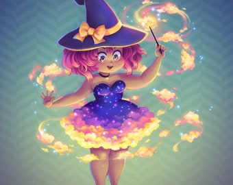 Sunset Witch - Limited Edition, Signed, Numbered, Holographic Print & Bookmark