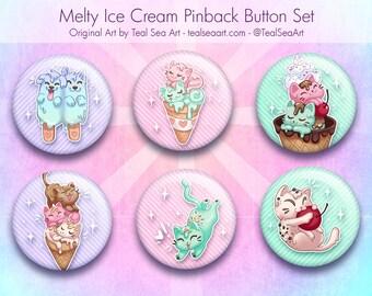 """Melty Ice Cream Kittens 1.5"""" Button Set"""