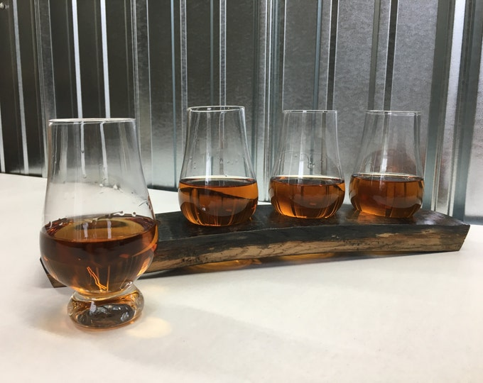 Featured listing image: Whiskey/Bourbon flight set made from oak barrel stave