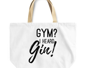 Funny workout bag Gym  I heard gin! canvas like tote bag perfect for the gym  procrastinator in your life mabye you! gym shopping bag 854401ce86