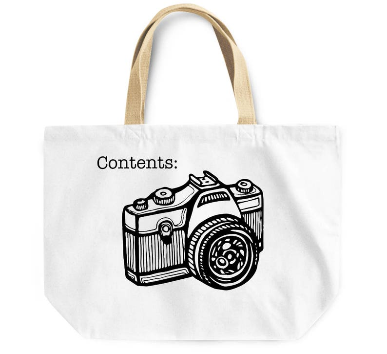 Photography lover canvas like tote bag contents camera bag photographer friend family gift work laptop school shopping overnight tote