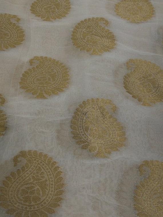 Belle Georgette Banarasi Teignables Paisley Design yard tissu par yard Design 7a8054