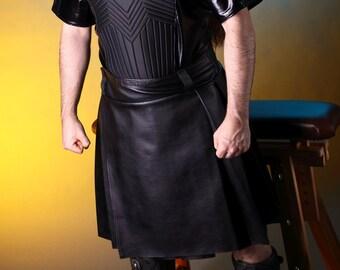 Leather look pleated kilt
