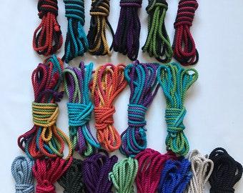 UK dyed hemp rope. Choose your length and colour. Machine washable. Bondage Shibari rope. Submissive women. BDSM kinky tie up your partner