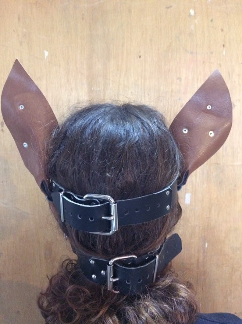 real leather Pony play hood made in the UK BDSM pet play.