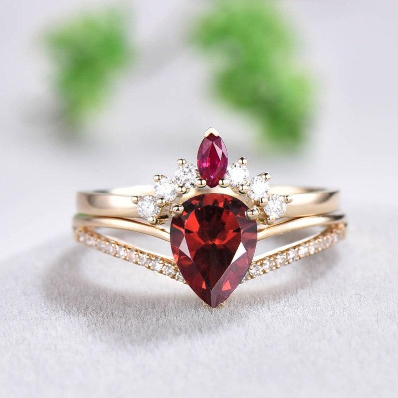 Rose Gold Garnet Engagement RingRed Garnet Ring in 14k Gold image 0