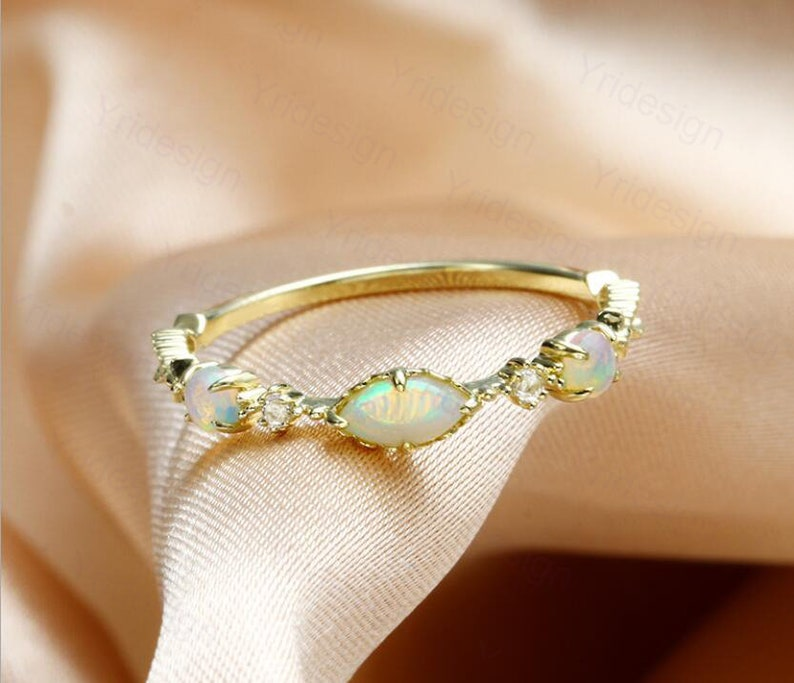 Antique three stone opal ring gold vintage natural opal image 0