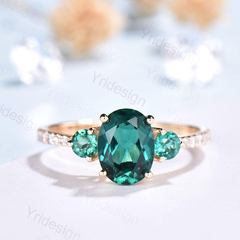 Three Stone Emerald Engagement Ring Rose Gold-Vintage Emerald image 0