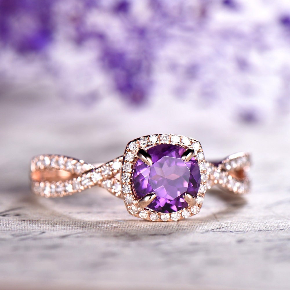 6ad1aee57115d Amethyst Engagement Ring Rose Gold 14k 18k Gold Diamond Wedding Ring Round  Amethyst Ring Anniversary Ring Halo Twisted Infinity Stack Ring