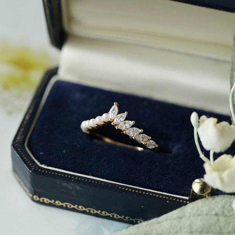Pearl and Moissanite Ring Unique  Anniversary Ring 14k 18k gold bridal ring Curved matching band Fresh water Pearl Wedding Ring For Women