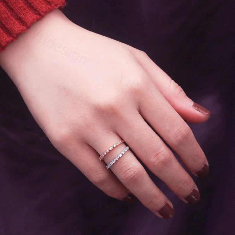 Half Eternity Wedding Band Anniversary Ring 925 Sterling Silver Stacking Ring Art Deco Matching Band Diamond Simulant WhiteRose Gold Ring