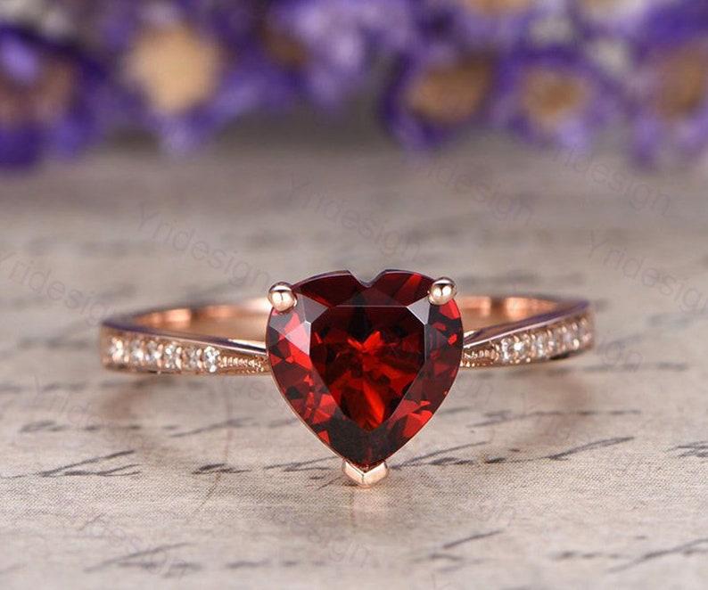 Heart shaped natural red garnet engagement ring real diamond image 0