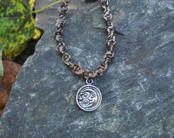 Hemp Necklace with Moon & Stars Charm