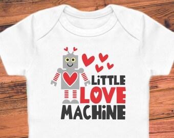 c4469a3e1 Little Love Machine - Robot - Valentine's Funny Baby Bodysuit