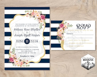 Navy Stripes & Floral Wedding Invite and RSVP- Customizable