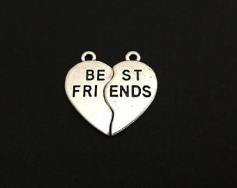 2-PC Best Friend Broken Heart Charms.  Lot of 10 / 20 / 30 PCS Silver Tone Friendship Charms. Handmade Jewelry Pendants.