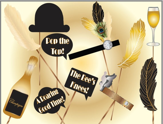 Roaring 20s Photo Booth Props Printable Gold Black Feathers Etsy