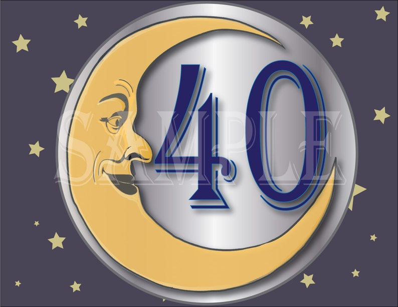 40 Cake Topper Printable Paper Moon Round Birthday Anniversary Gold Yellow Silver Blue Art Nouveau 1920s Party Sign 40th Birthday Decoration