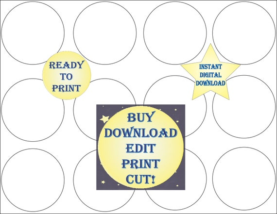 Cupcake Topper Template Printable Blank DIY 2 1 Inch Round