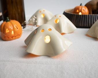 Handmade Ceramic Ghost Tea Light Holder