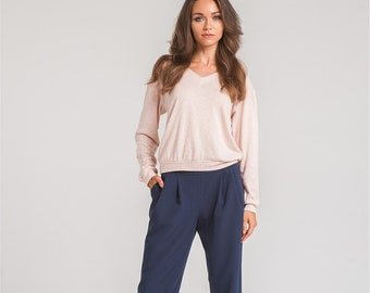 eb77372704c1 Blue classic office cropped womens pants with pockets by Nadi Renardi