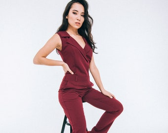 6854732da82a Womens office burgundy summer sexy jumpsuit for womens with fitted pants  with pockets by Nadi Renardi
