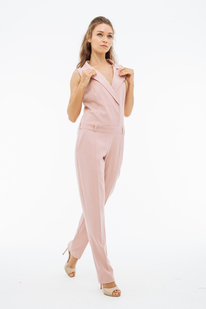 b69c4811155f Womens office light pink summer sexy jumpsuit for womens with
