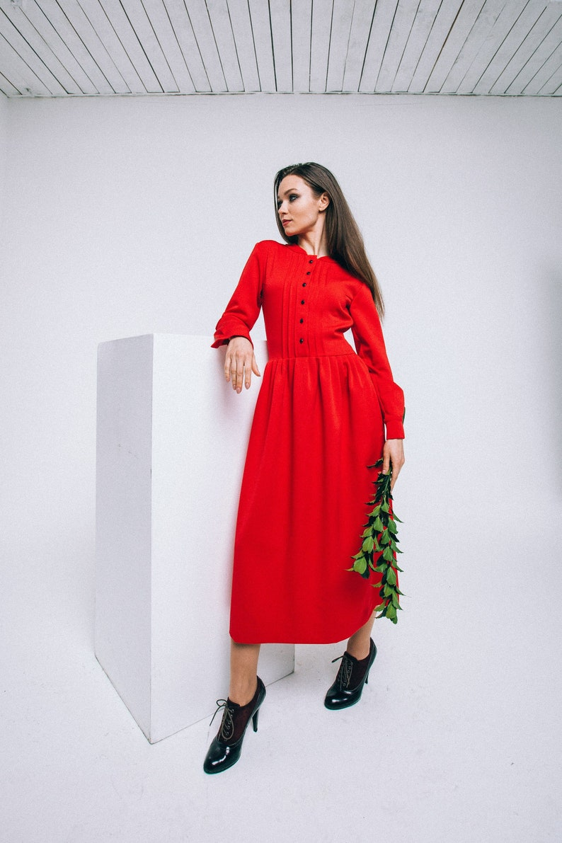 64c0309dd35 Elegant red wool warm office winter dress with midi skirt and