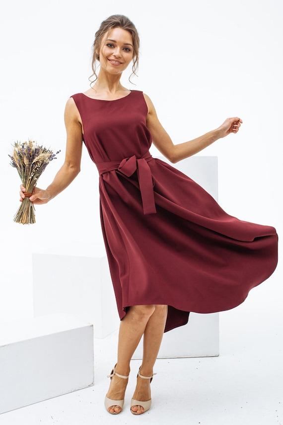 Burgundy Dress Wine Color Dress Cotton Summer Dress Marsala Etsy