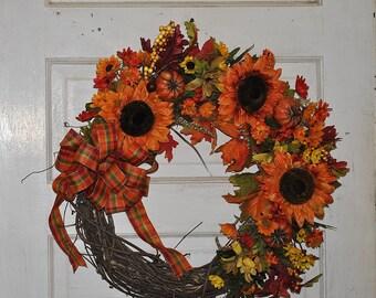 Sunflower and Pumpkin Wreath, Fall Home Decor, Large Wreath,  orange sunflowers and pumpkins, plaid bow wreath, fall front door wreath