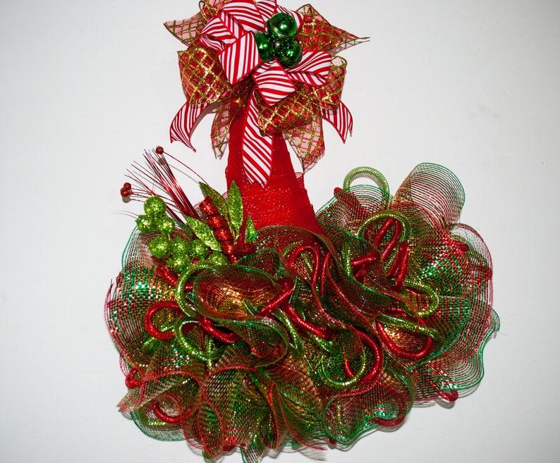 Christmas elf decor Christmas elf hat Christmas elf hat wreath alternative for front door elf hat door hanger