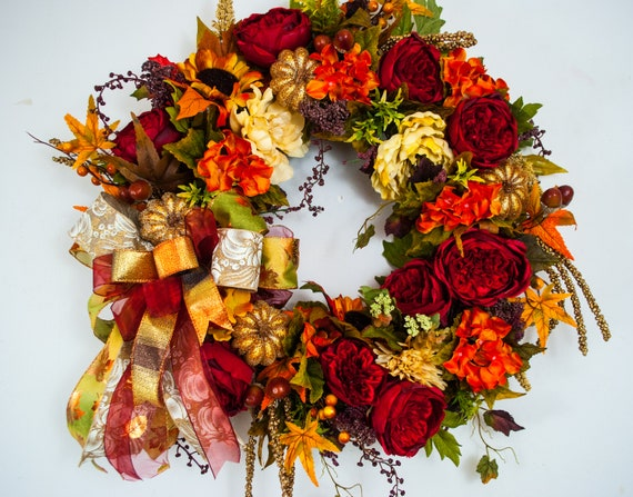 Fall Decor Fall Hydrangea Wreath Hydrangea Fall Wreath,Thanksgiving Wreath Red Orange Pumpkin Spice Fall Wreath  Ready