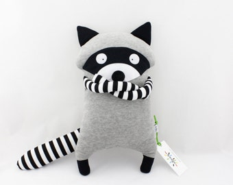 Racoon soft filled plush toy handmade