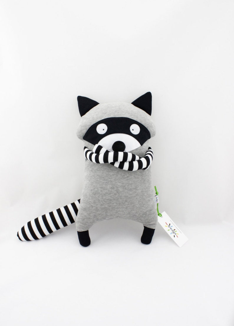 Racoon soft filled plush toy handmade image 0