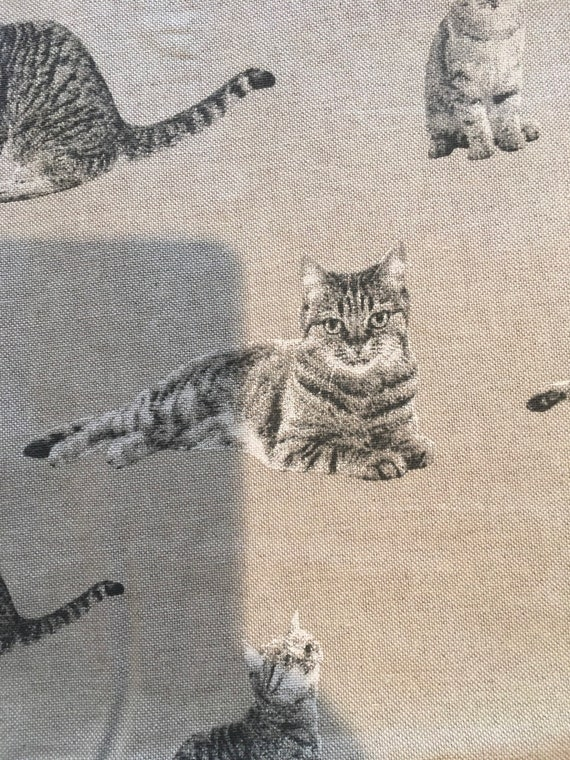 upholstery fabric Animal  print  Cats LINEN canvas fabric by the yard,drapery