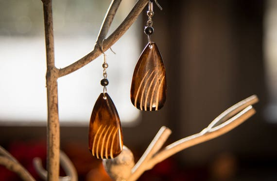 Nabulungi African Handmade Cow Bone Brown Earrings   Long earrings  African Style  Tribal earrings   Gift for her  perfect gift