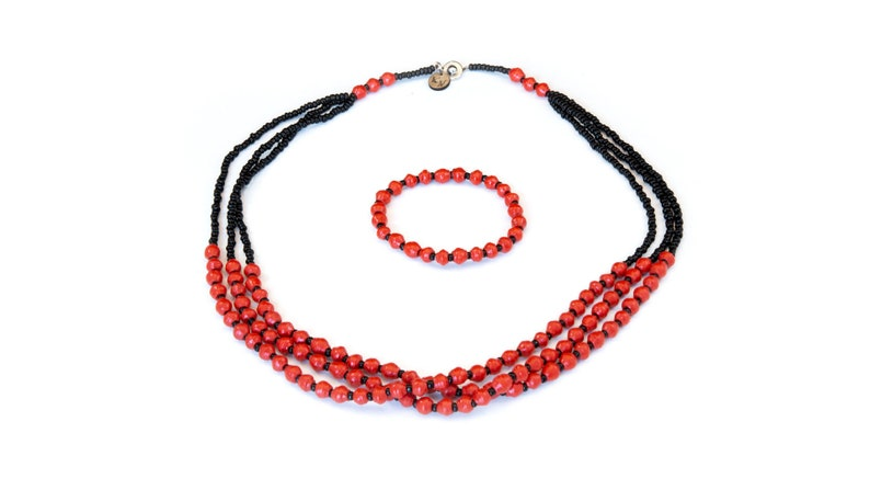 African Handmade Recycled Paper Necklace and Bracelet set Ugandan fashion paper beads unconventional material Lucy Red Black Set