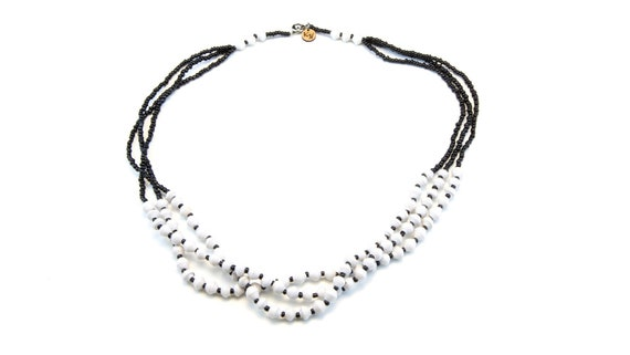 unique paper beans unconventional material ugandan fashion African Handmade Recycled Paper Necklace beads Lucy White Black