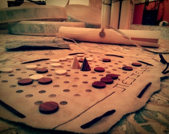 Petteia of Achilleas | Collector's Edition on Leather | Ancient Greek Game | Top Quality HandCrafted Board Games