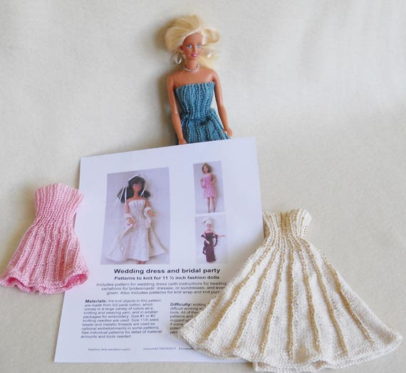 Knitting Pattern For Barbie Doll Wedding Dress And Bridal Etsy