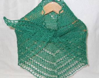 green hand knit lacy shawl for 18 inch (A G) doll