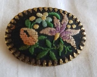 1950's Vintage Neddlepoint Brooch