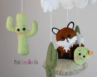 fox baby mobile bebe cactus mobile nursery decor baby gift baby shower gift felt mobile nursery mobile