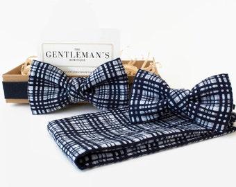 Father Son Gift // Bow Tie // Secret Santa // Bow Tie for Boys // Mens Bow Tie // Pocket Square // Wedding // EntireSet- Navy/White Kimono heGVxT7D