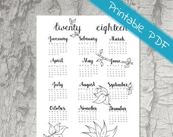 year at a glance 2018 calendar 2018 full year 2018 bullet journal stickers jungle calendar printable monthly calendar