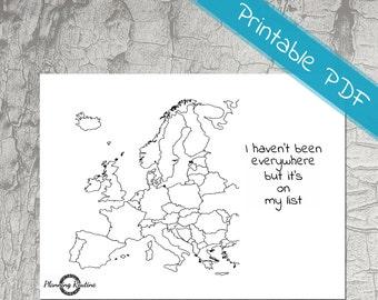 Map of europe | Etsy