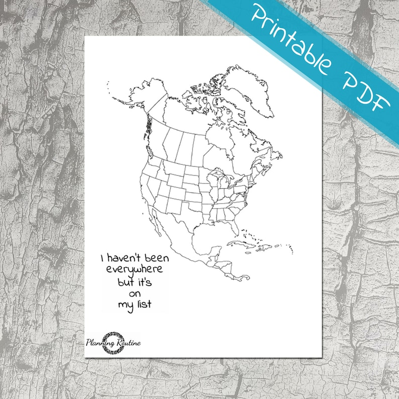 Map Of America Printable.North America Planner Stickers Map Of North America Map Of Etsy