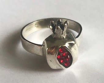 Silver Pomegranate Ring Granada - Pomegranate Jewelry - Fruit Jewelry - Silver Ring - Wealth and Abundance Symbol - Meaningful Gift